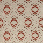 Purcell - bestickte Leinenmeterware - von Colefax and Fowler - Red & Natural